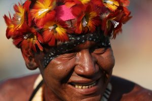 Brazil's Paresi Indians attend competition at the World Indigenous Games in Palmas, Brazil, Thursday, Oct. 29, 2015. Organizers billed the nine-day event as a sort of indigenous Olympics. (AP Photo/Eraldo Peres)